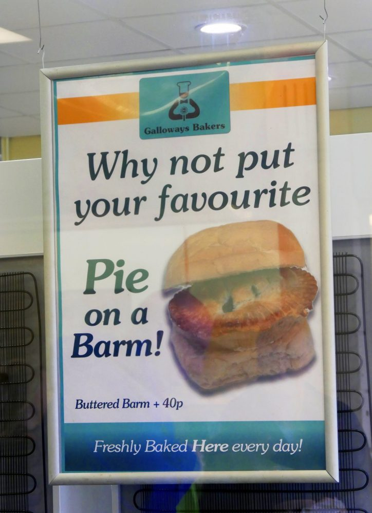 pie on a barm  and parched peas in preston